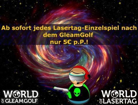 World of Lasertag-Einzelspiel nur 5€ pro Person nach dem GleamGolf